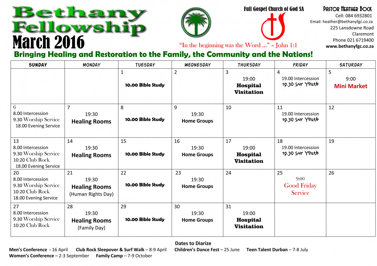 Monthly Calendar Bethany Fellowship Full Gospel Church Claremont